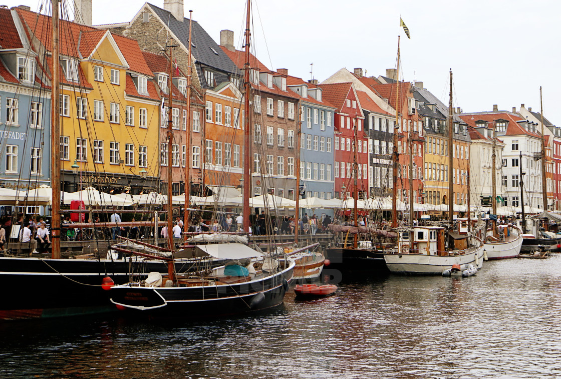 """COPENHAGEN, DENMARK - Pictorial view of Nyhavn harbor"" stock image"
