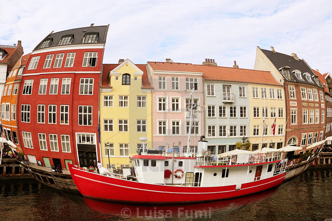 """Copenhagen, Denmark - fish-eye view of Nyhavn harbor"" stock image"