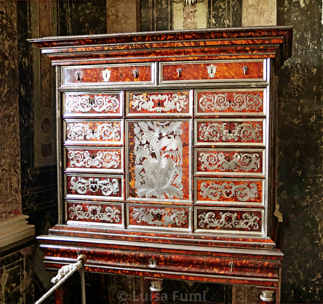 """COPENHAGEN, DENMARK - Cupboard of tortoiseshell and silver in Rosenborg castle"" stock image"