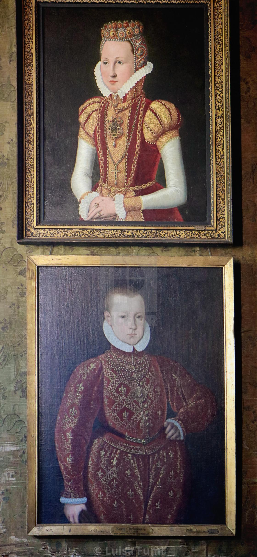 """""""COPENHAGEN, DENMARK - portrait of Queen Sophie and king Christian IV age 7 at Rosenborg castle"""" stock image"""