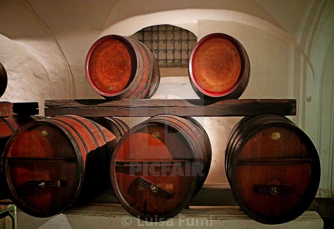 """""""COPENHAGEN, DENMARK - Rosenborg castle, barrels of Rosenborg wine"""" stock image"""