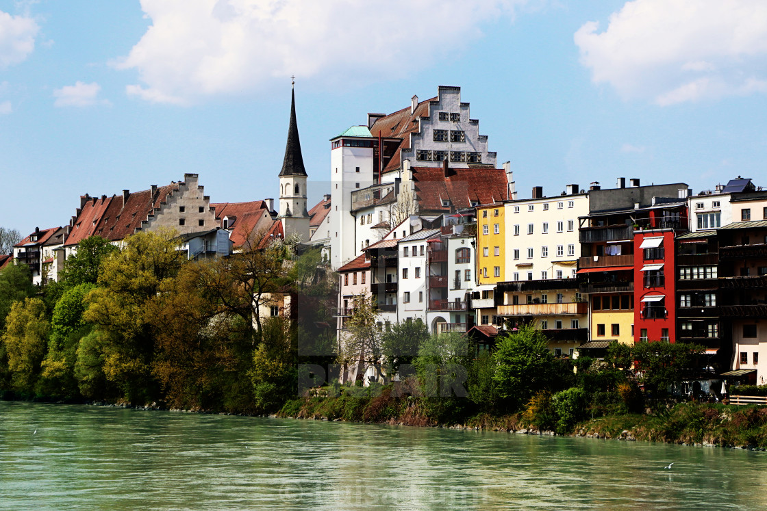 """Wasserburg am Inn from the river, Upper Bavaria, Germany"" stock image"
