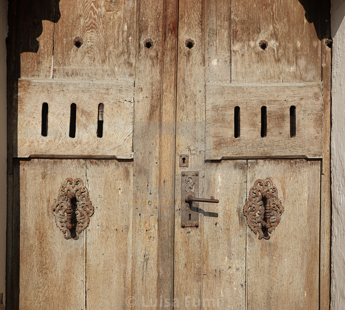 """Wooden texture: grunge ancient wooden door"" stock image"