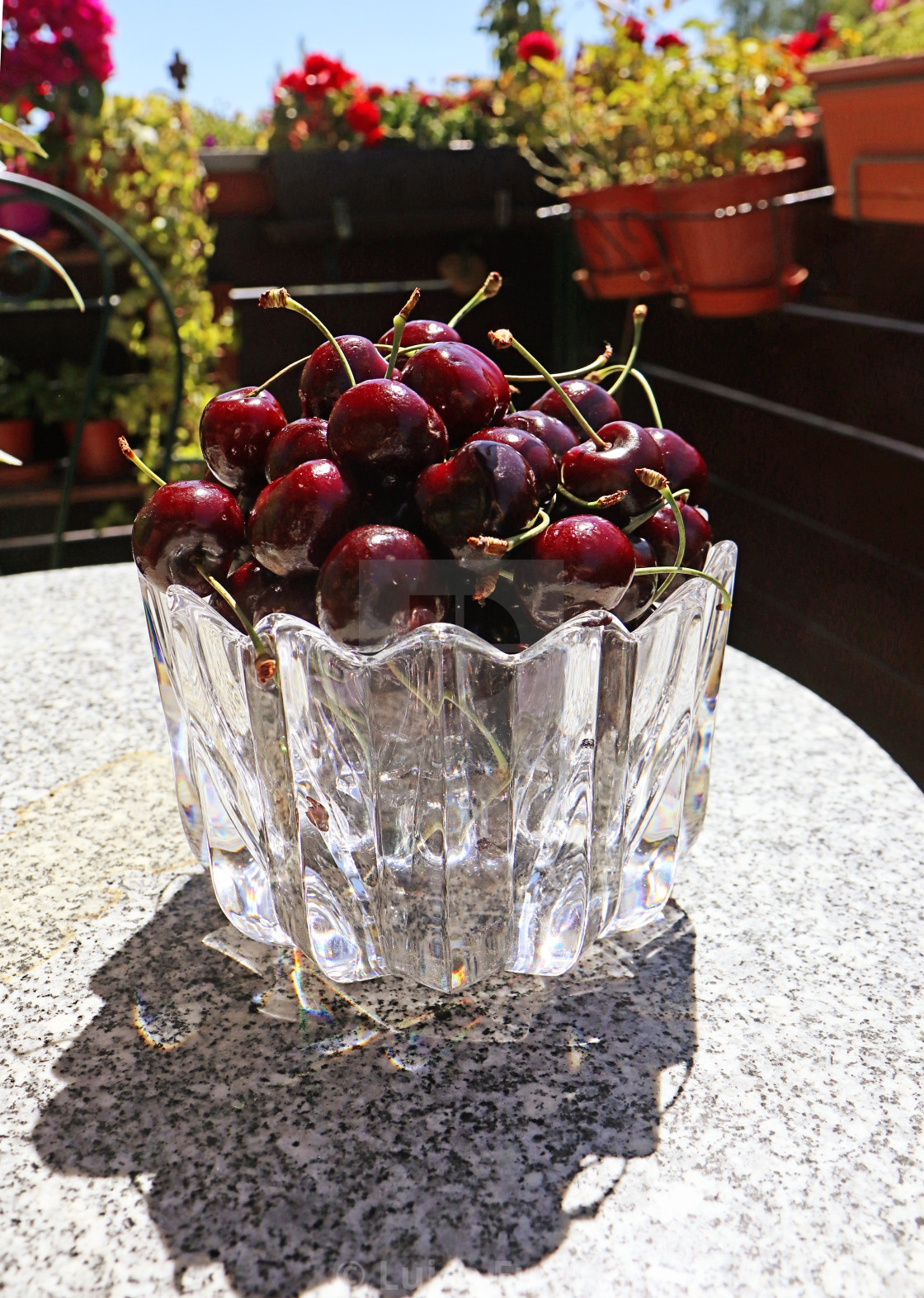 """Dark red ripe cherries on the marble table"" stock image"