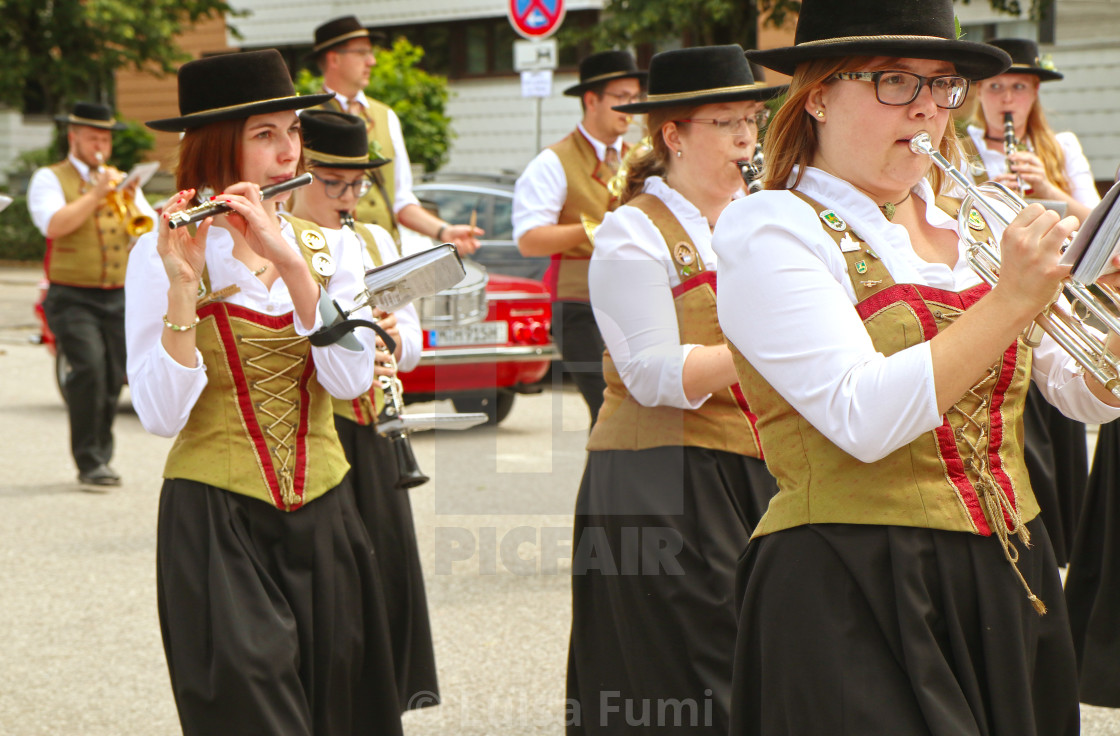 """GARCHING, GERMANY- Brass band parade"" stock image"