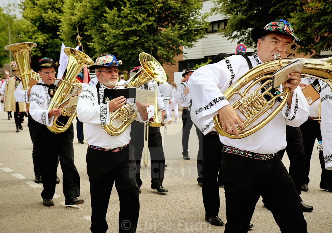 """Brass band in Bavarian costume"" stock image"
