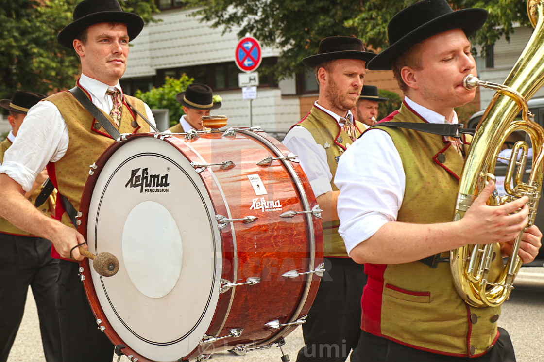 """""""Brass band in Bavarian costume"""" stock image"""