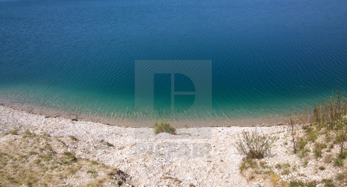 """Hollernsee, Bavarian lake of beautiful blue green waters"" stock image"