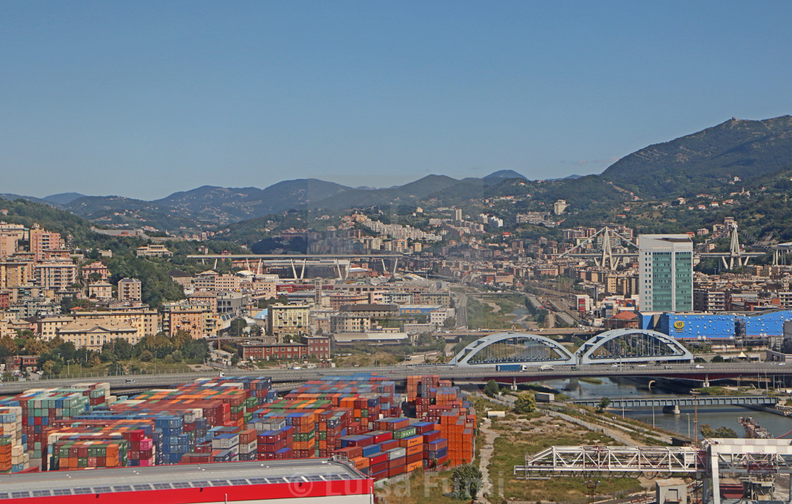 """GENOA, ITALY - Aerial view of the Morandi bridge"" stock image"