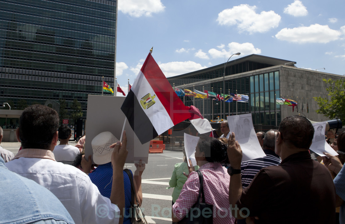 """Egyptians Protesters at UN"" stock image"