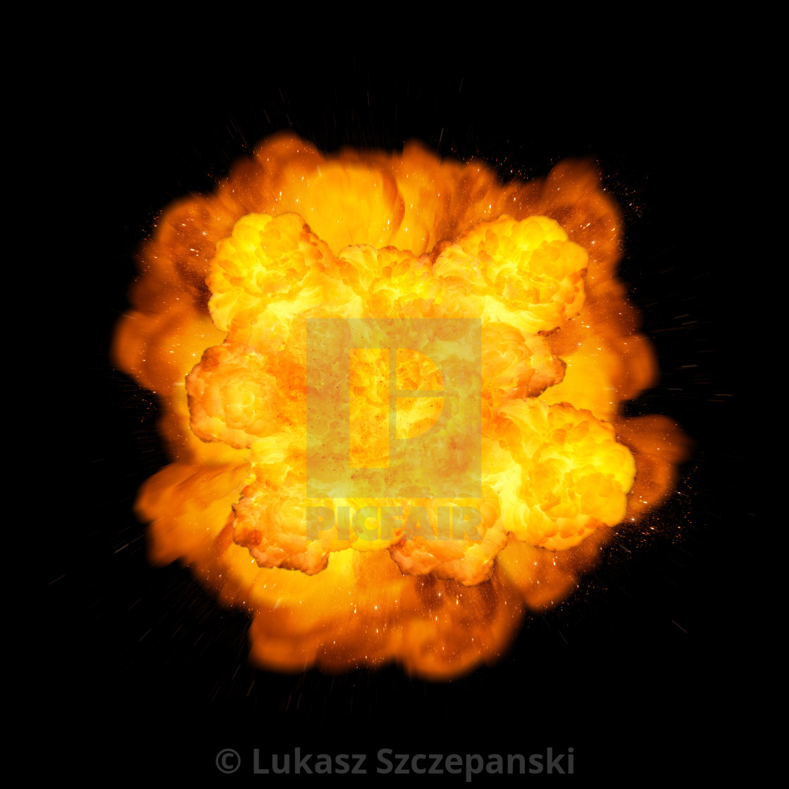 """Extremely massive fire explosion, orange color with sparks isolated on black background"" stock image"