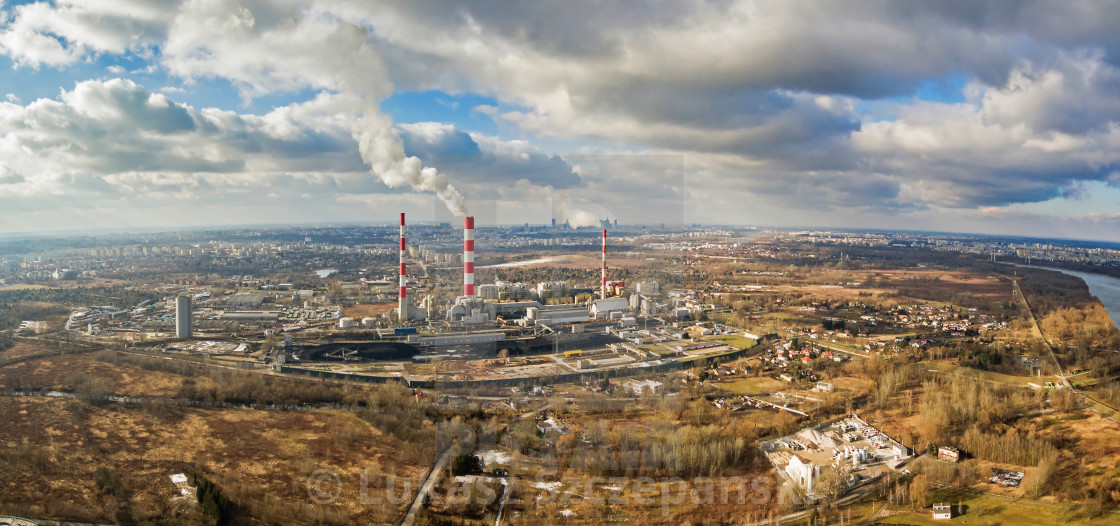"""""""Aerial view of power plant under cloudy sky, Warsaw"""" stock image"""