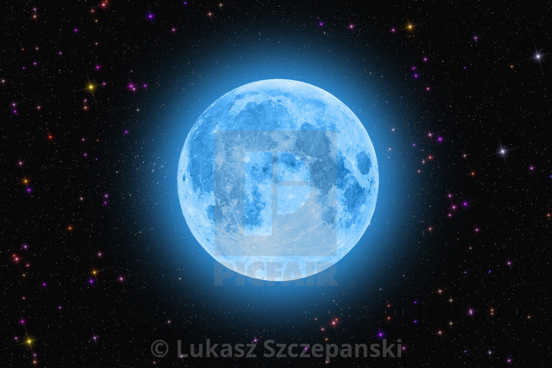 """""""Blue super moon glowing against colorful starry sky dark background"""" stock image"""