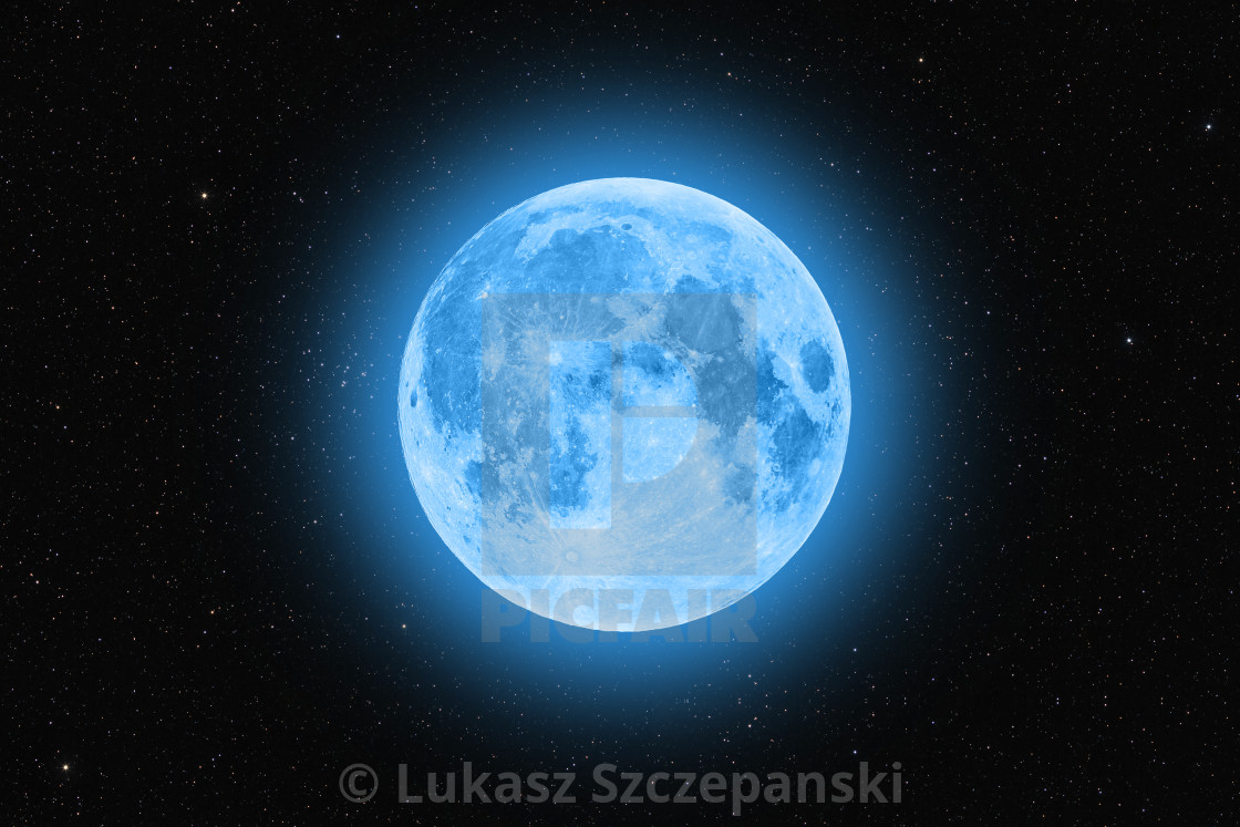 """""""Blue super moon glowing against starry sky dark background"""" stock image"""