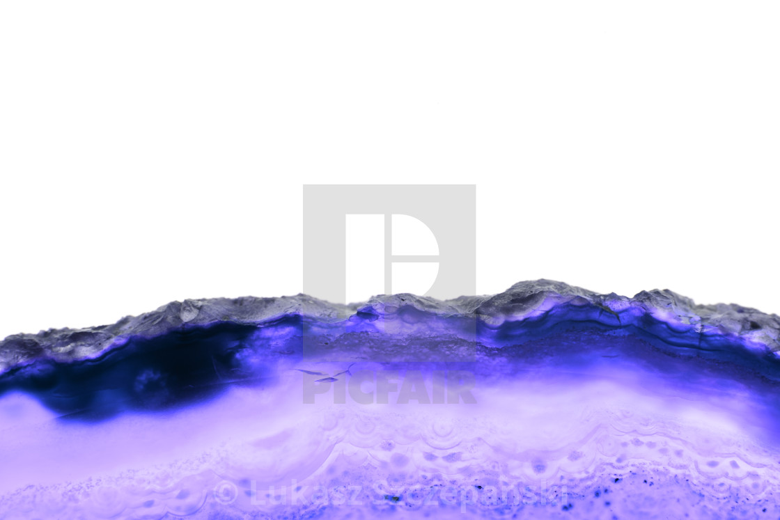 """Abstract background, blue agate slice mineral cross section isolated on white background"" stock image"