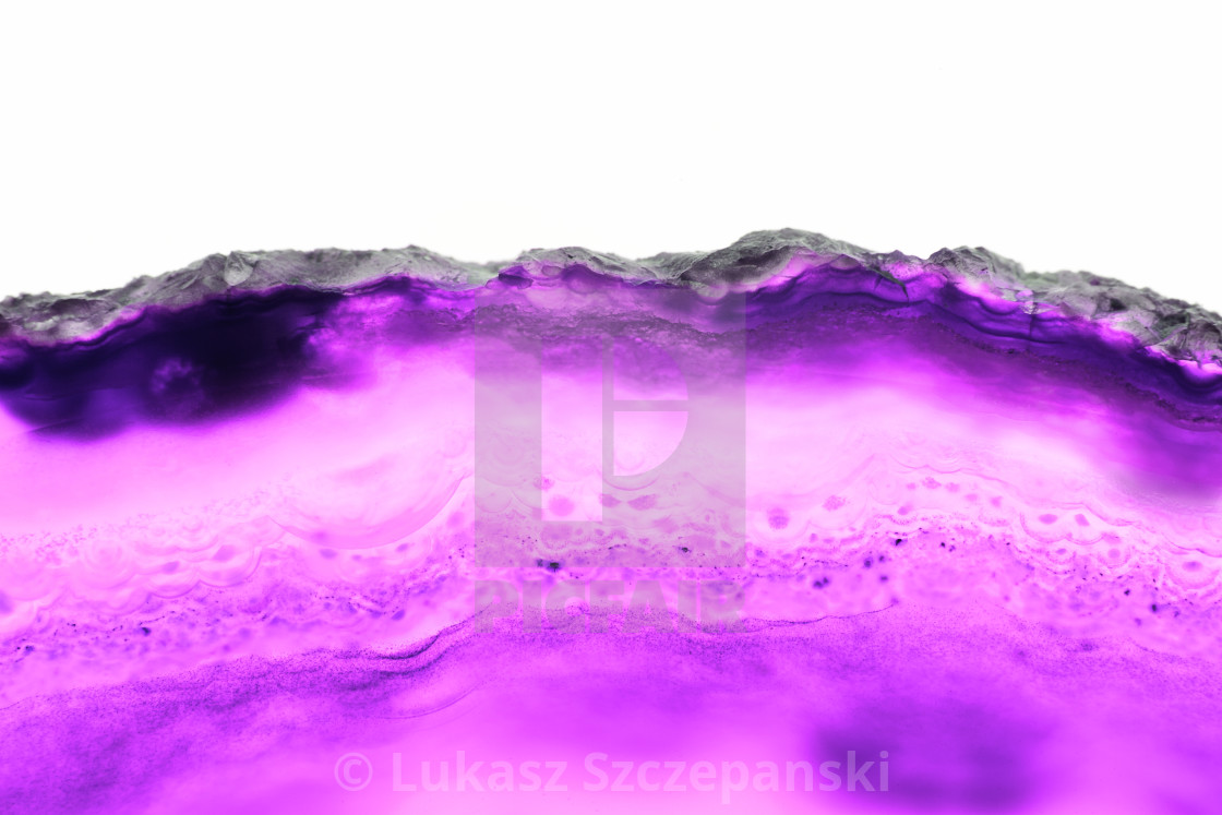 """Abstract background, pink and violet mineral cross section isolated on white background"" stock image"