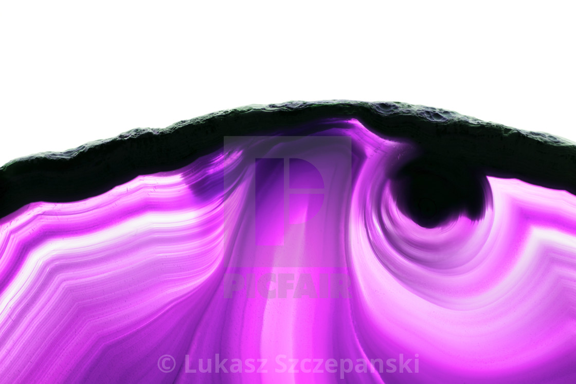 """""""Abstract background, ultraviolet purple striped mineral cross section isolated on white background"""" stock image"""