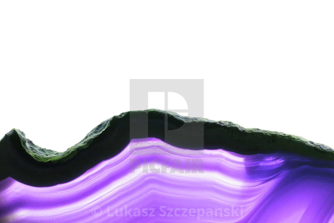 """Abstract background, ultraviolet purple striped mineral cross section isolated on white background"" stock image"
