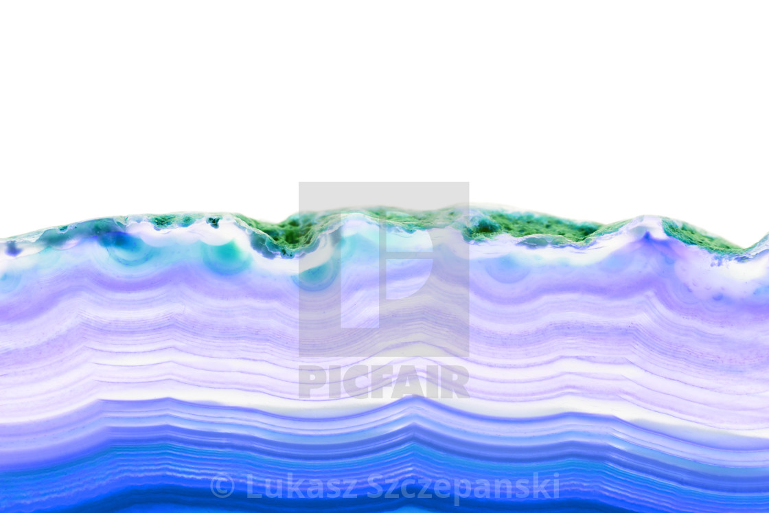 """""""Abstract background, blue striped slice mineral cross section isolated on white background"""" stock image"""