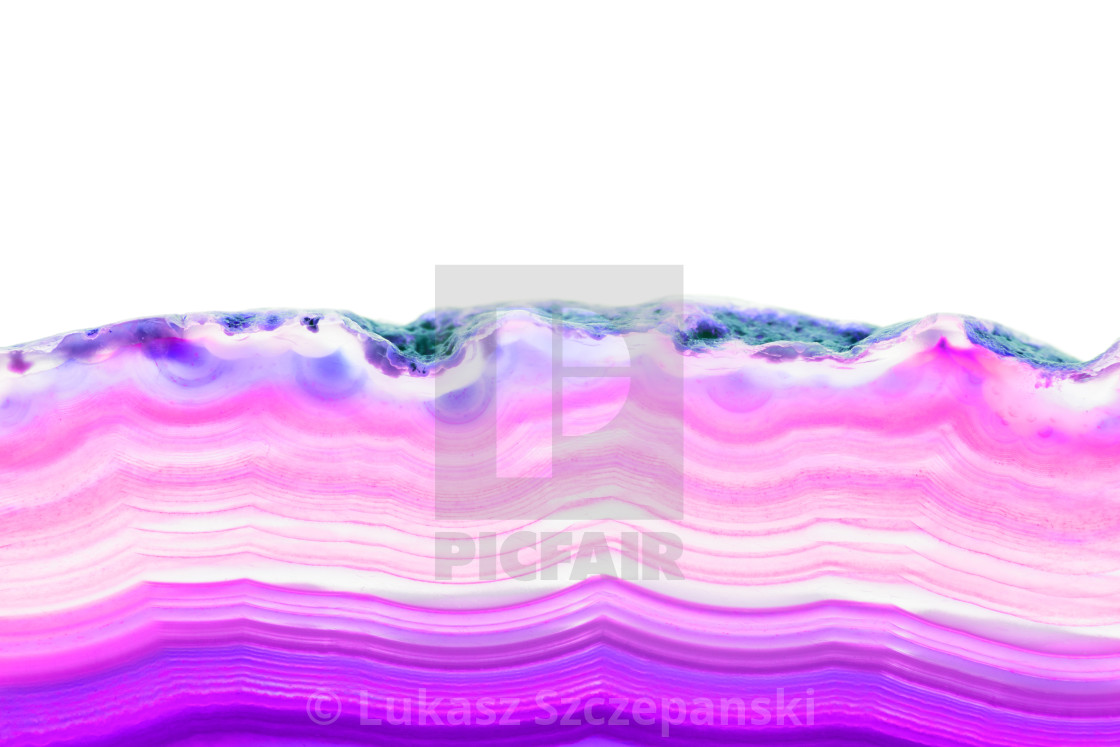"""Abstract background, purple and violet striped slice mineral cross section isolated on white background"" stock image"