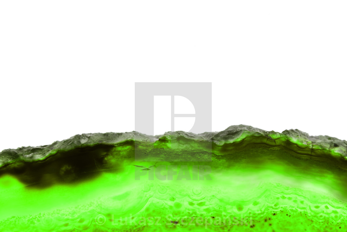 """""""Abstract background, green mineral cross section isolated on white background"""" stock image"""