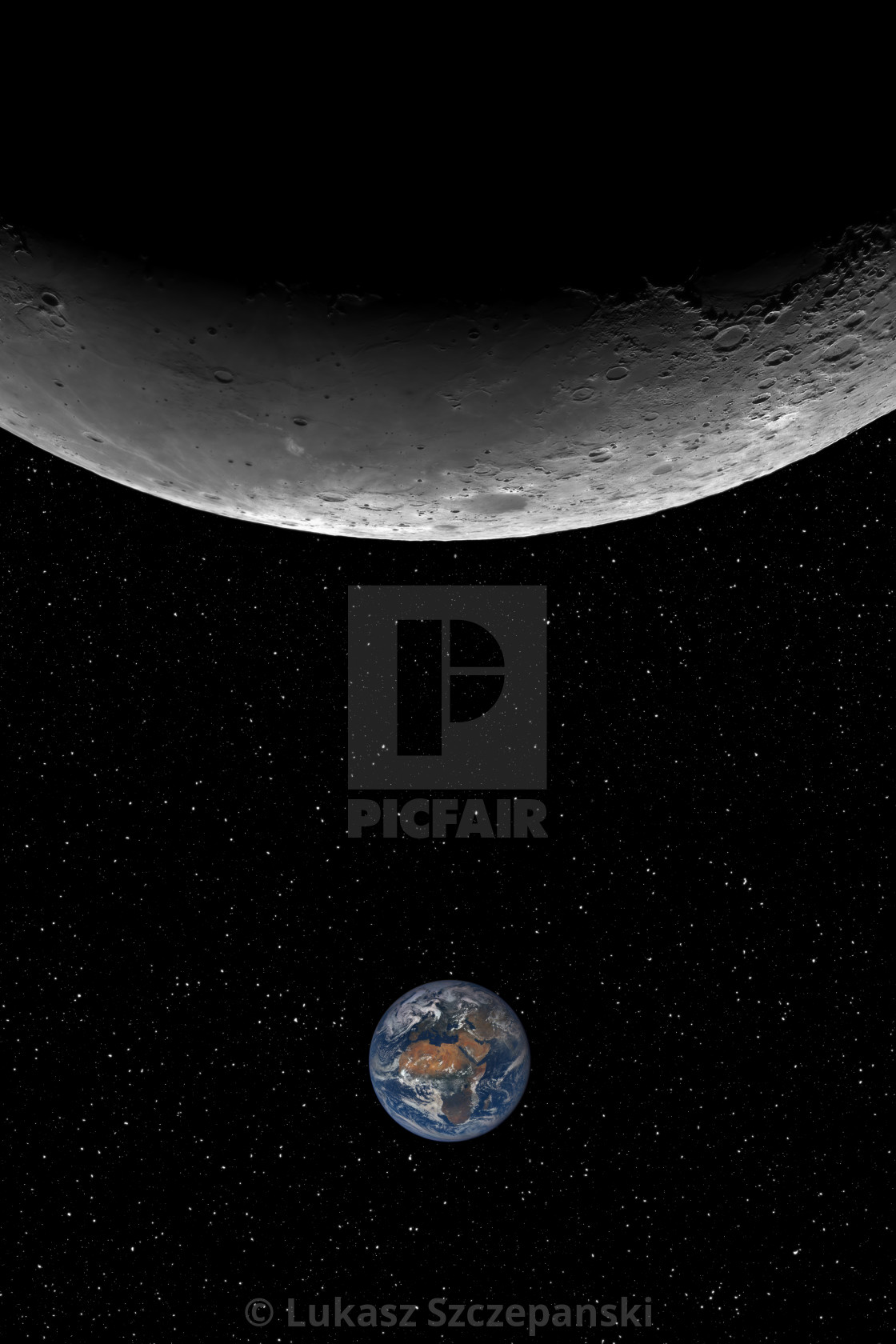 """Closeup of the Moon and the small planet Earth against starry night sky background, elements of this image furnished by NASA"" stock image"
