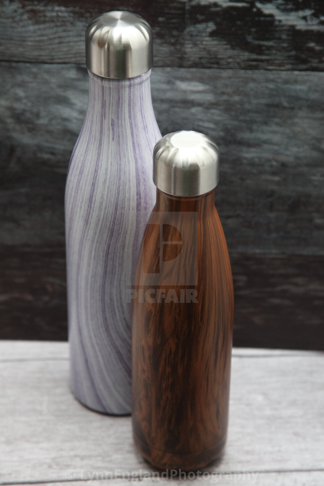 """Steel water bottles"" stock image"