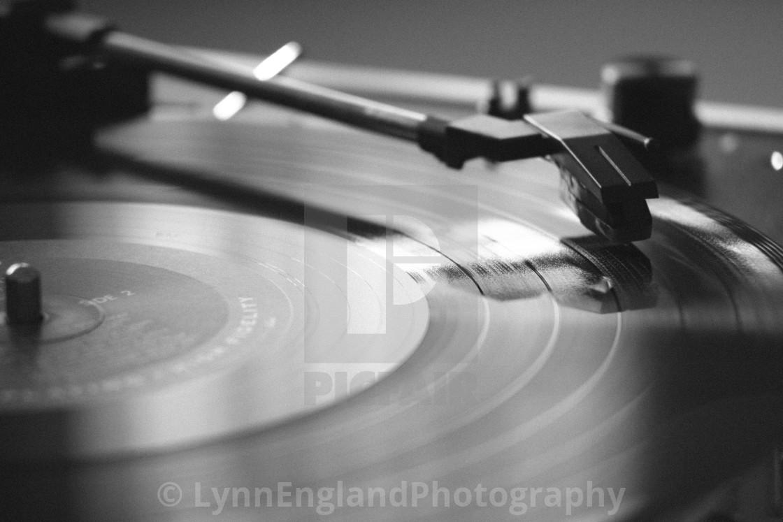 """""""Nostalgia....monochrome vinyl record image"""" stock image"""