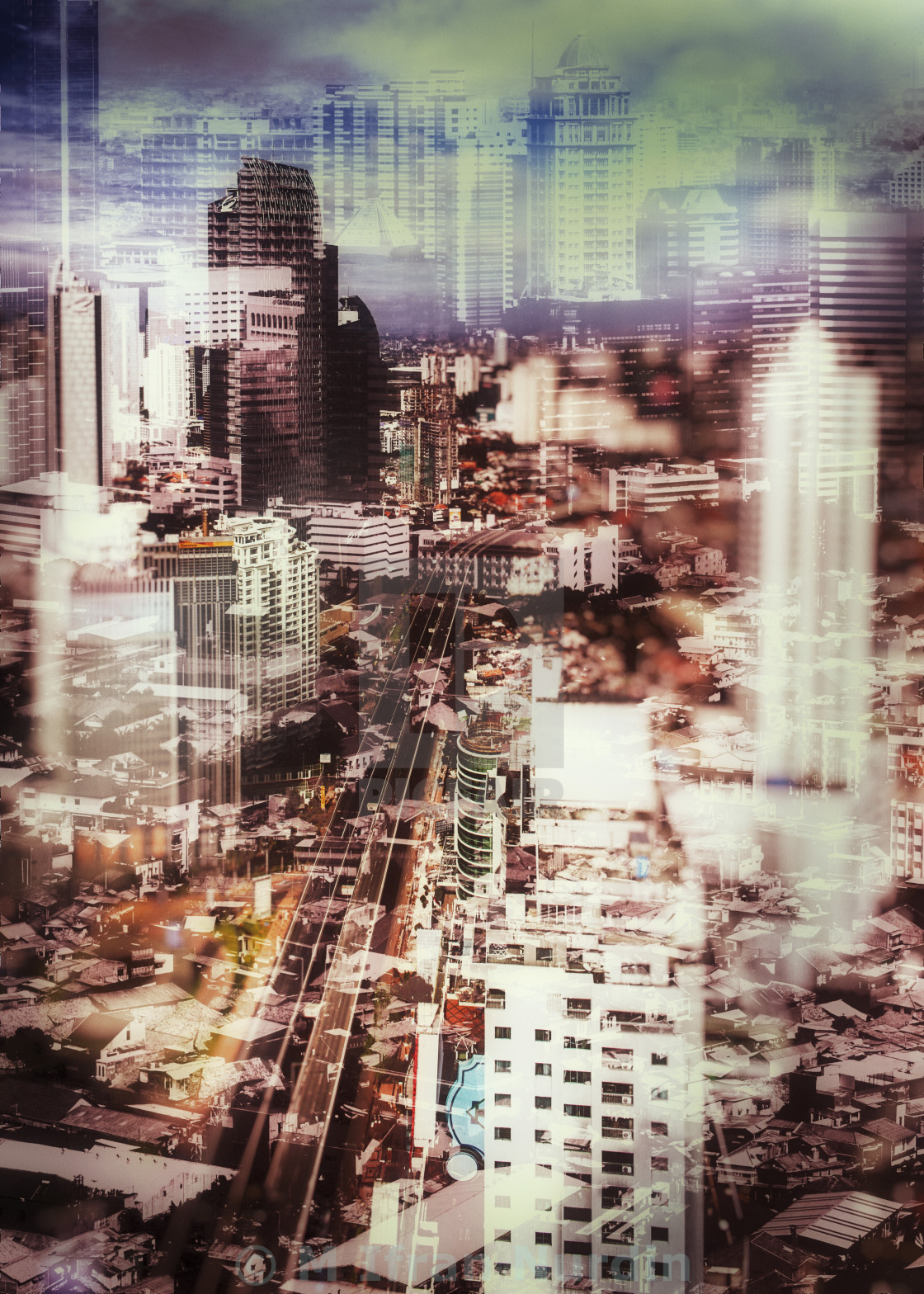 """Jakarta Cityscape in double exposure"" stock image"