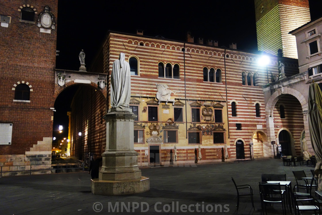 """Statue in Piazza Dei Signori in Verona at Night"" stock image"