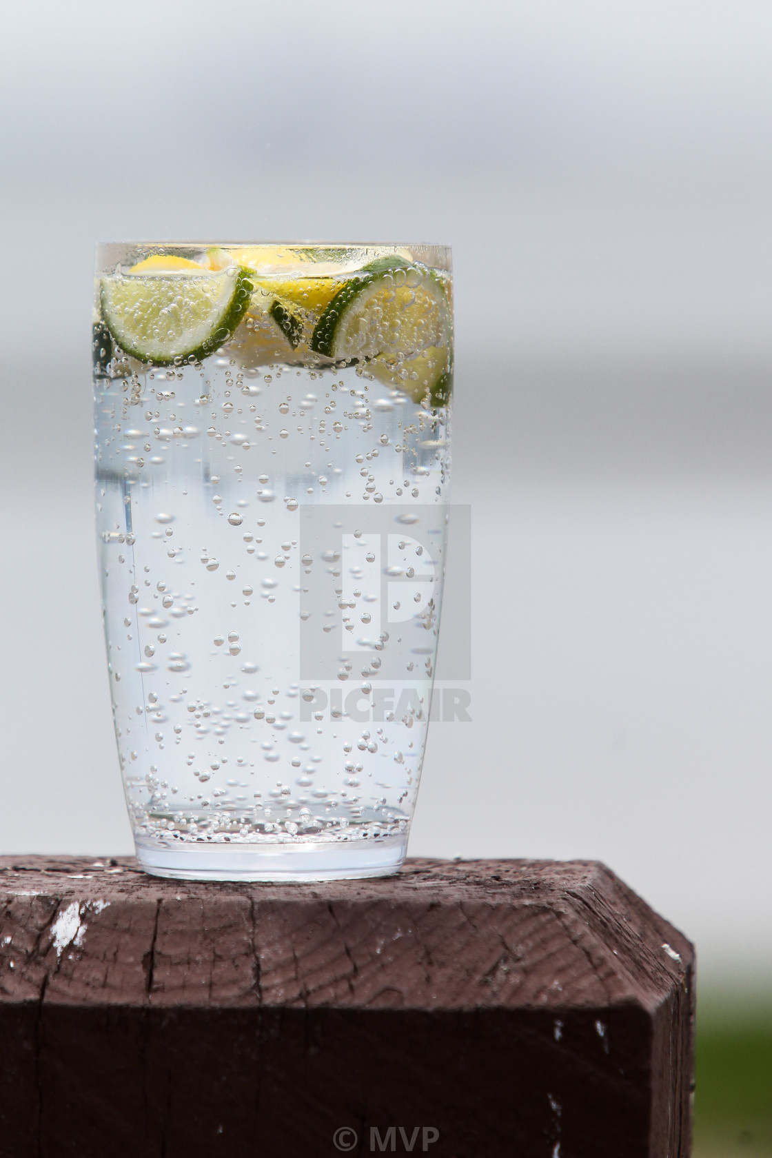 """Sparkling water with lemon and lime"" stock image"