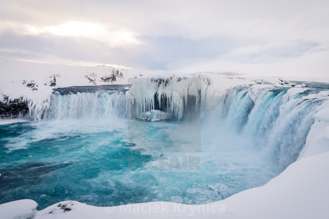 """Godafoss waterfall in Iceland during winter"" stock image"