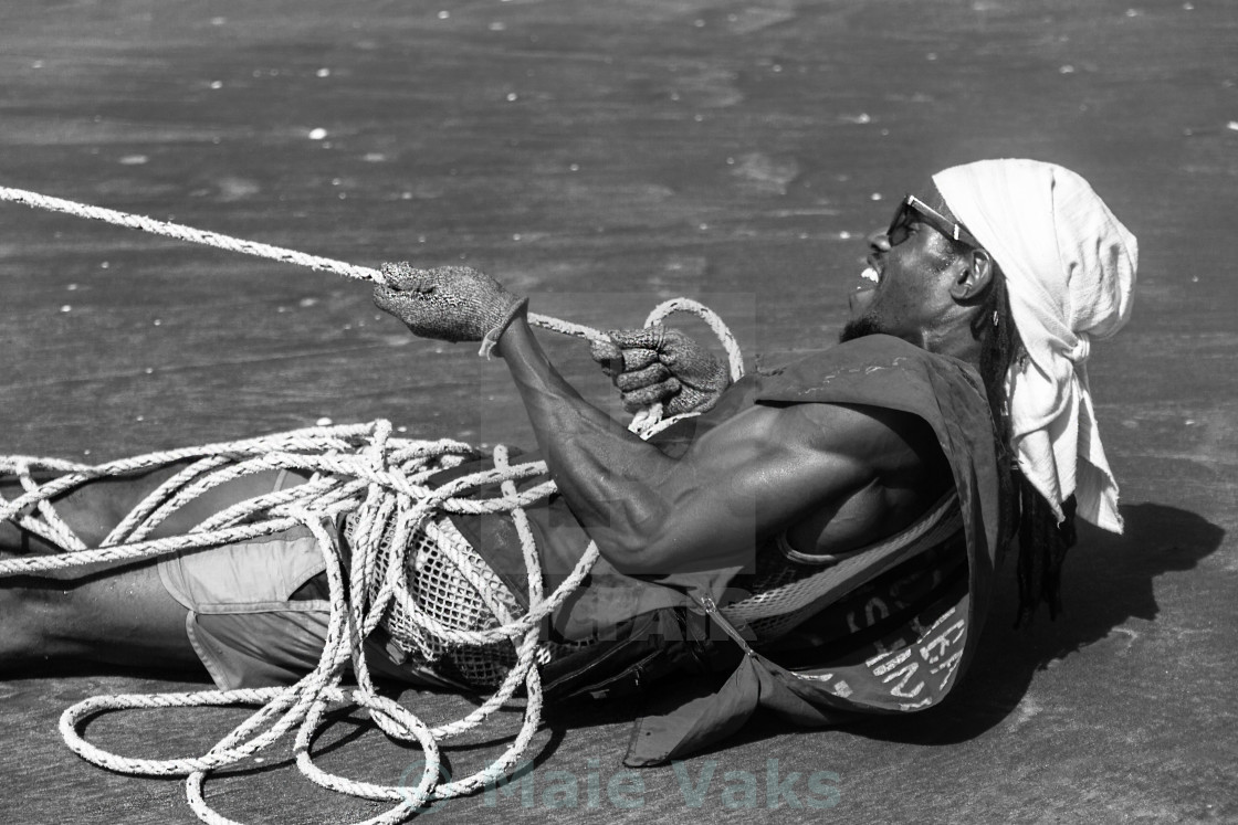 """Pulling Fishing Net"" stock image"