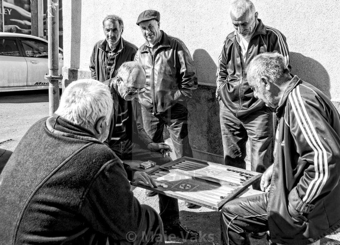 """""""Men playing backgammon in the street / Tbilisi"""" stock image"""
