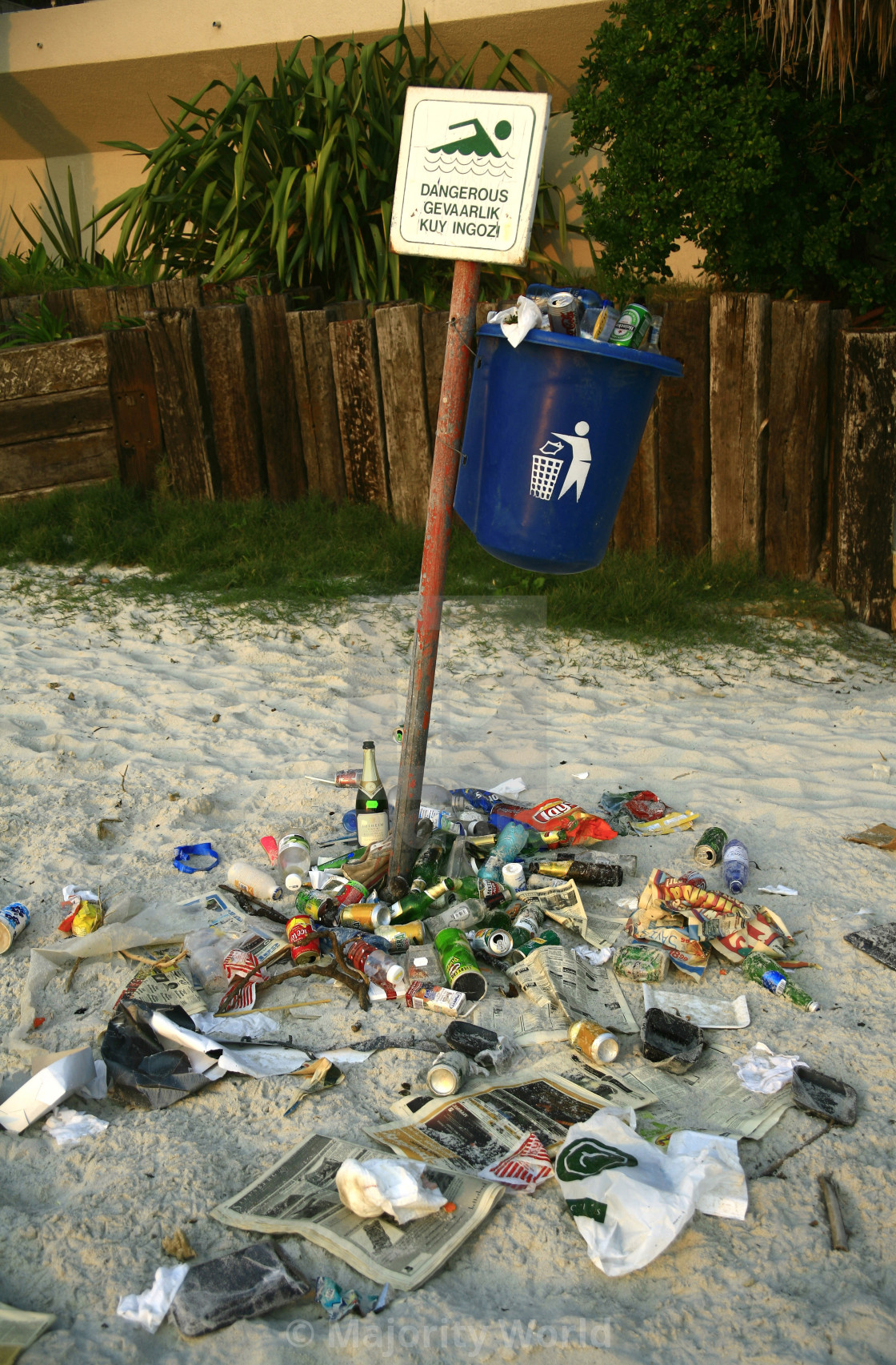 """Litter, scattered on Clifton Beach in Cape Town, South Africa. October 22, 2007."" stock image"