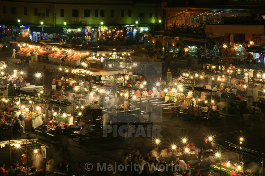 """Djemaa el-Fna Square at night, in Marrakesh in Morocco. 10-10-2006"" stock image"