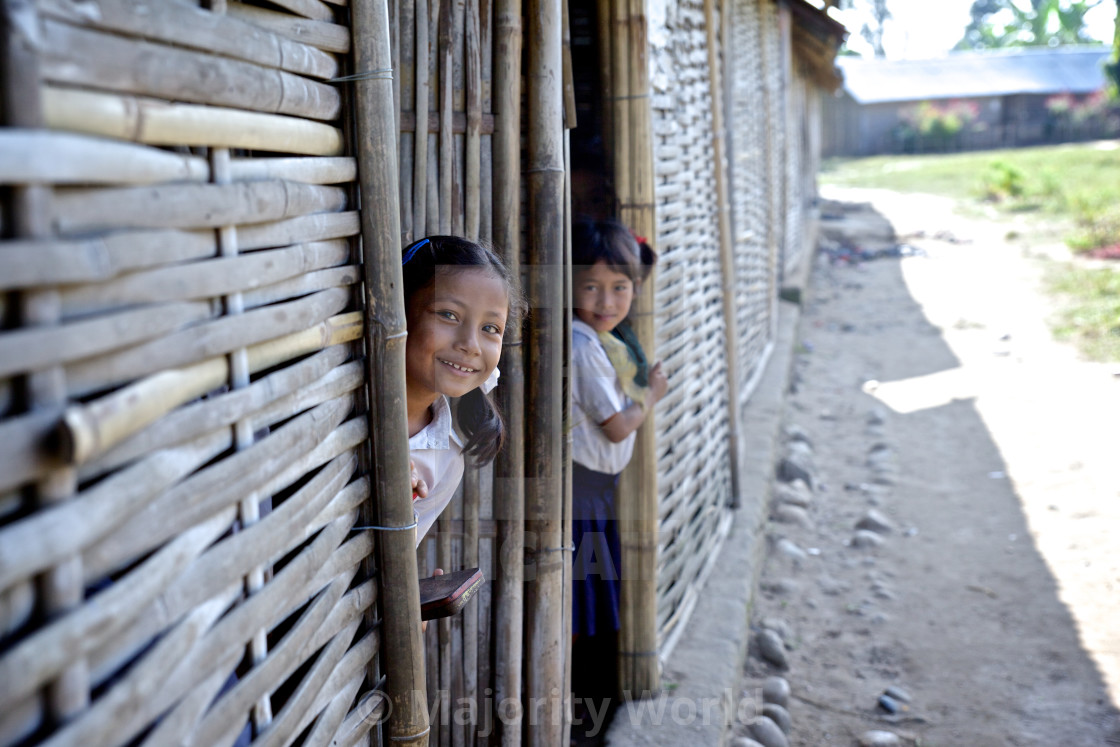 """- Beldangi II, Damak, Nepal, 2014: Morning assembly at the school in the..."" stock image"