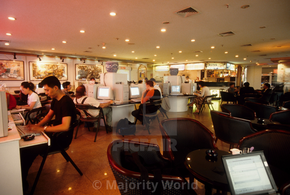 """""""Spark Ice Cyber Café in Beijing, China. May 2000."""" stock image"""