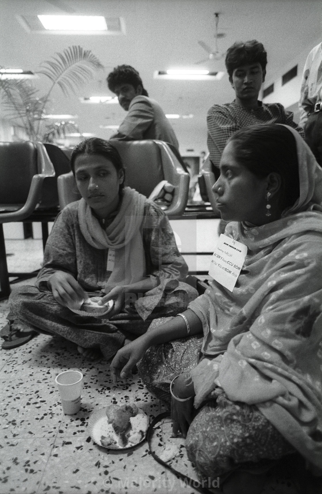 """Bangladeshi women having snacks, inside the Zia International Airport, in..."" stock image"