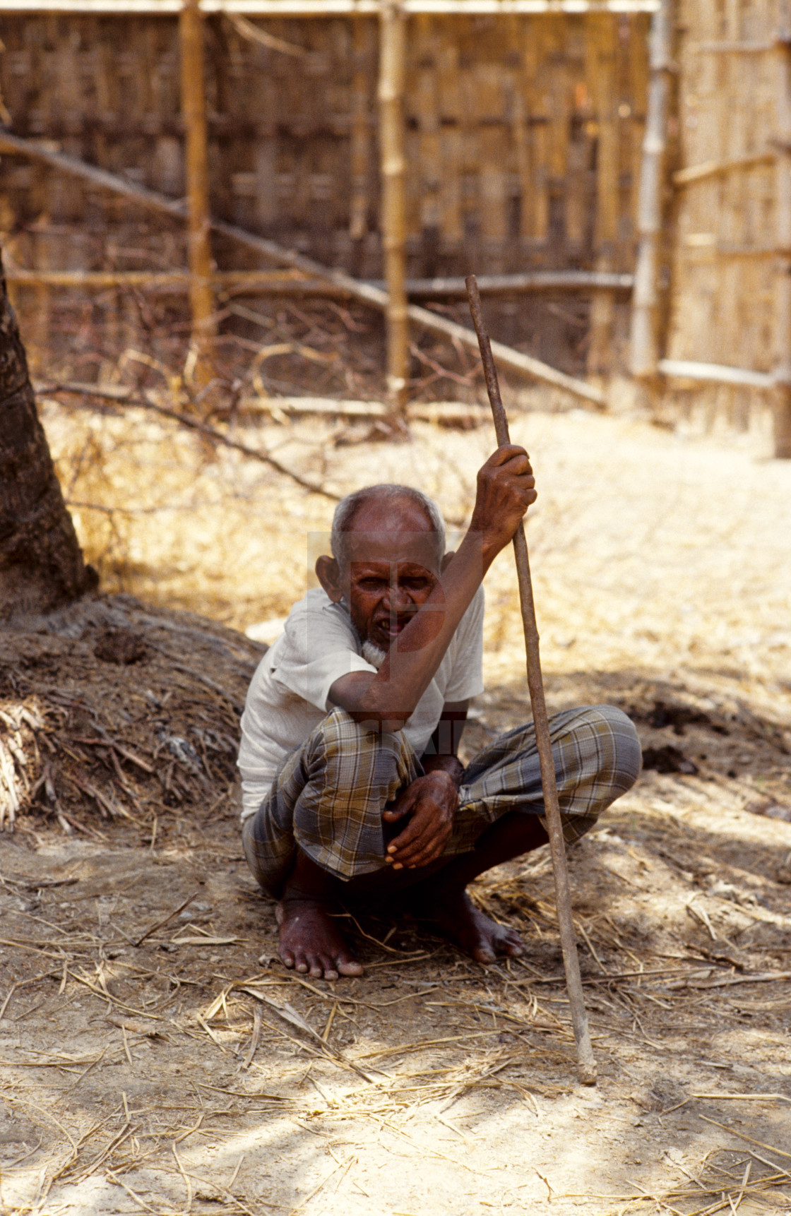 """An elderly man; survivor of the 1991 cyclone. The 1991 cyclone was one of the..."" stock image"