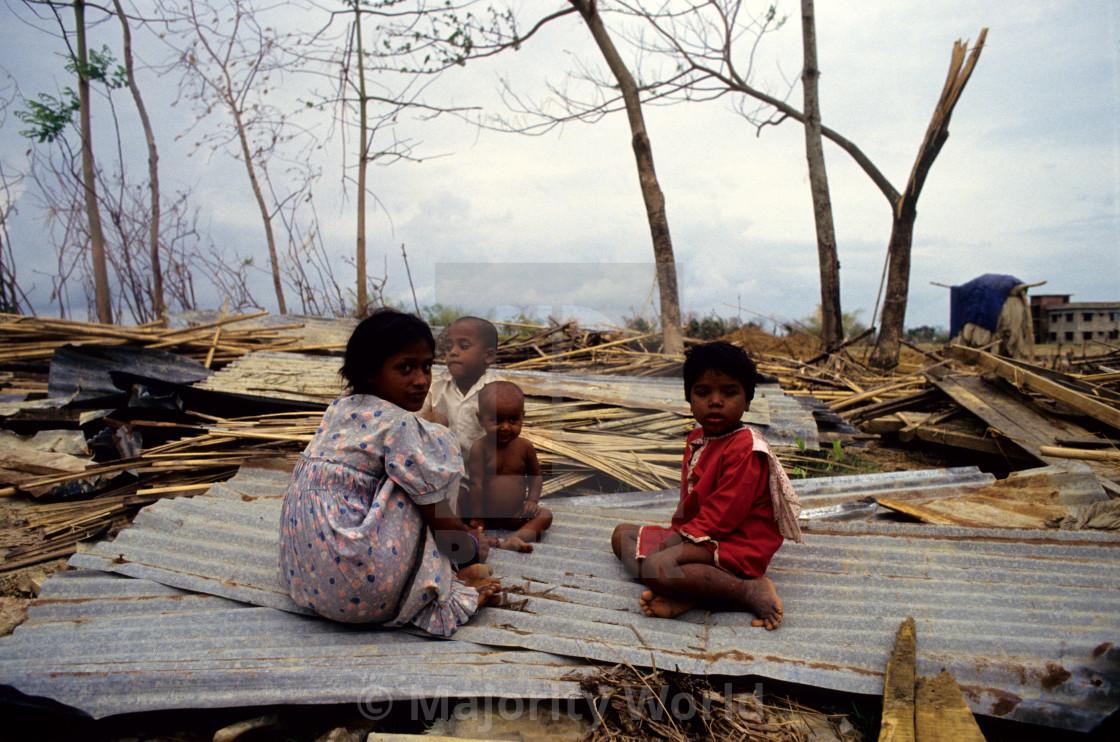 """Children of a devastated village. Anwara, Chittagong, Bangladesh. 1991. The..."" stock image"
