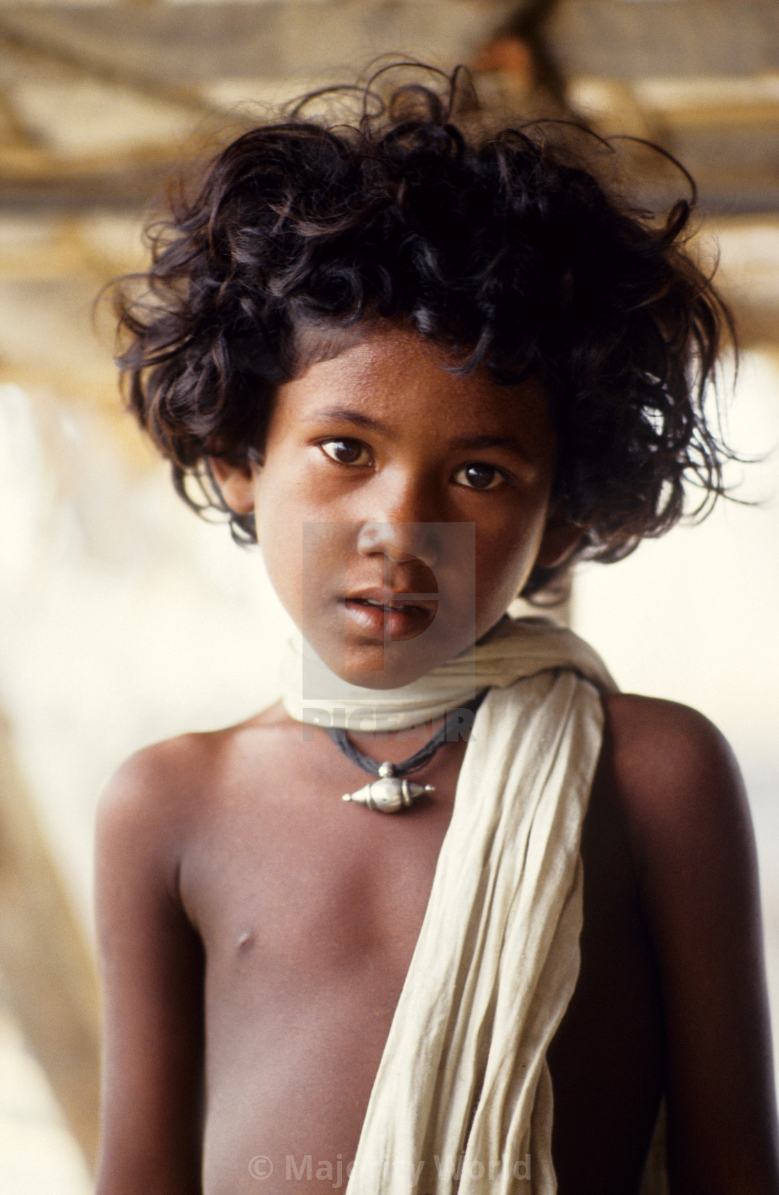 """""""Portrait of a child; a survivor of the 1991 cyclone. The 1991 cyclone was one..."""" stock image"""