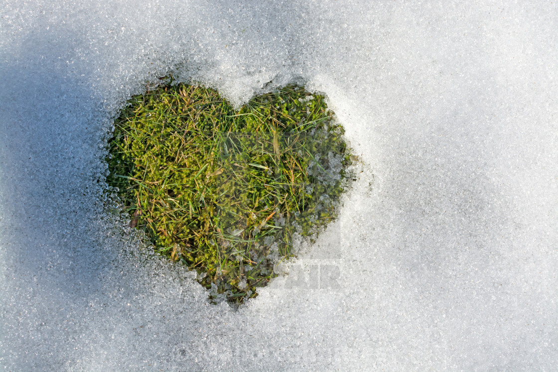 """""""Snow melting in the shape of a heart"""" stock image"""