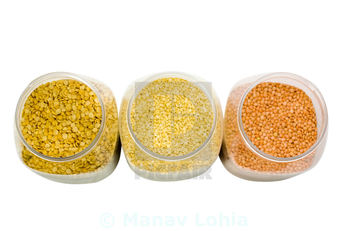 Mung with pigeon pea and lentil pulses in jars - License
