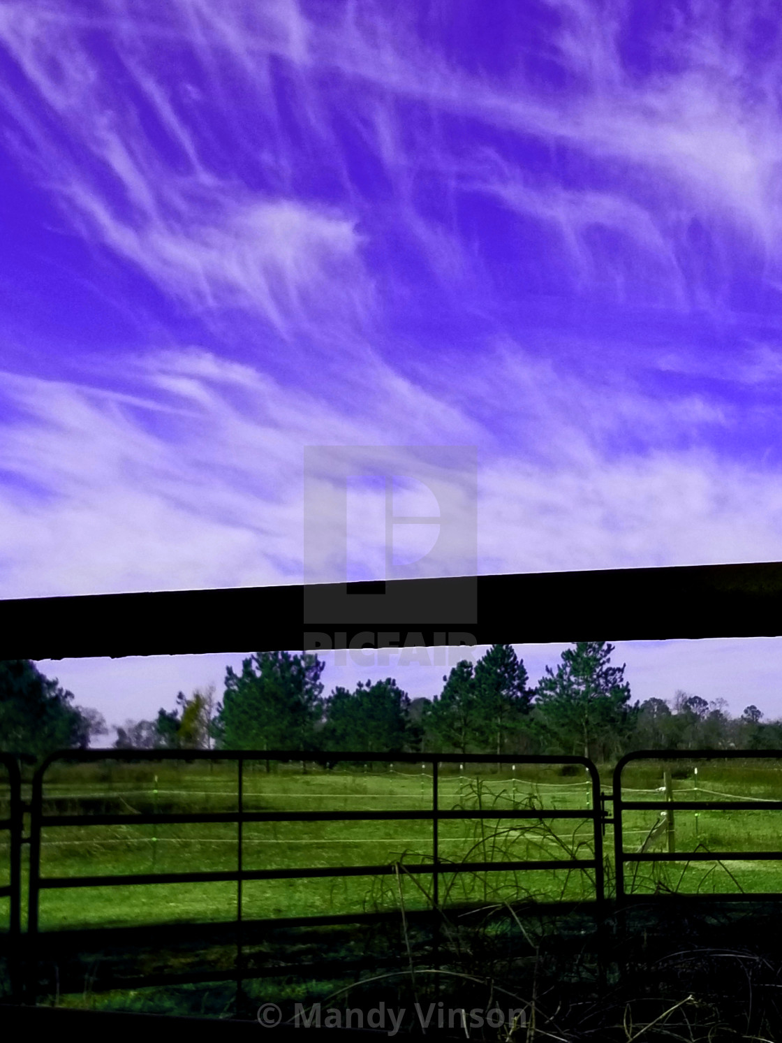 """Sky through the roundpen"" stock image"