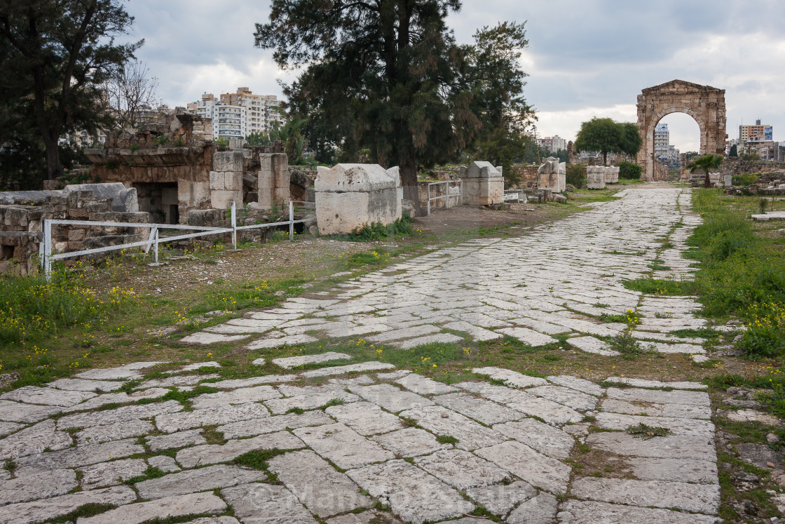 Roman Monumental Arch And Decumanus Maximus At Al Bass Archaeolo