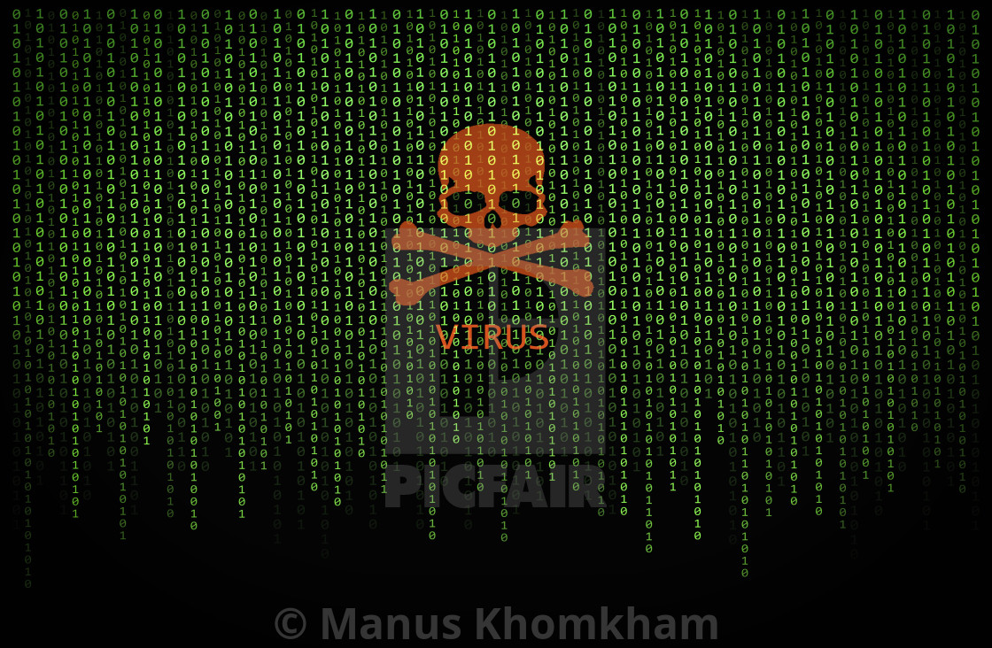 Red skull virus on binary computer code - License, download or print
