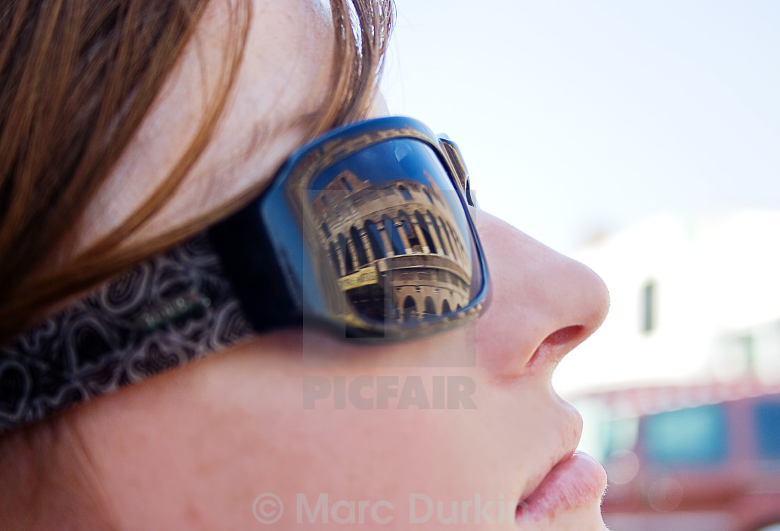 """""""Reflection of the Colosseum, Rome"""" stock image"""