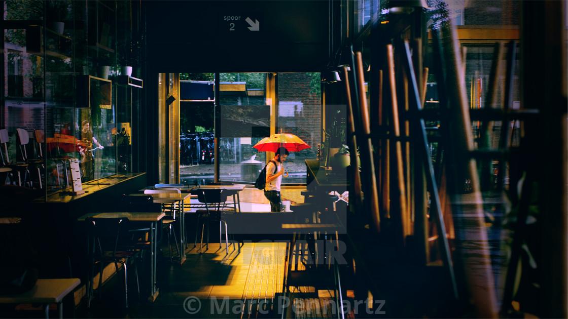 """Man with Umbrella"" stock image"
