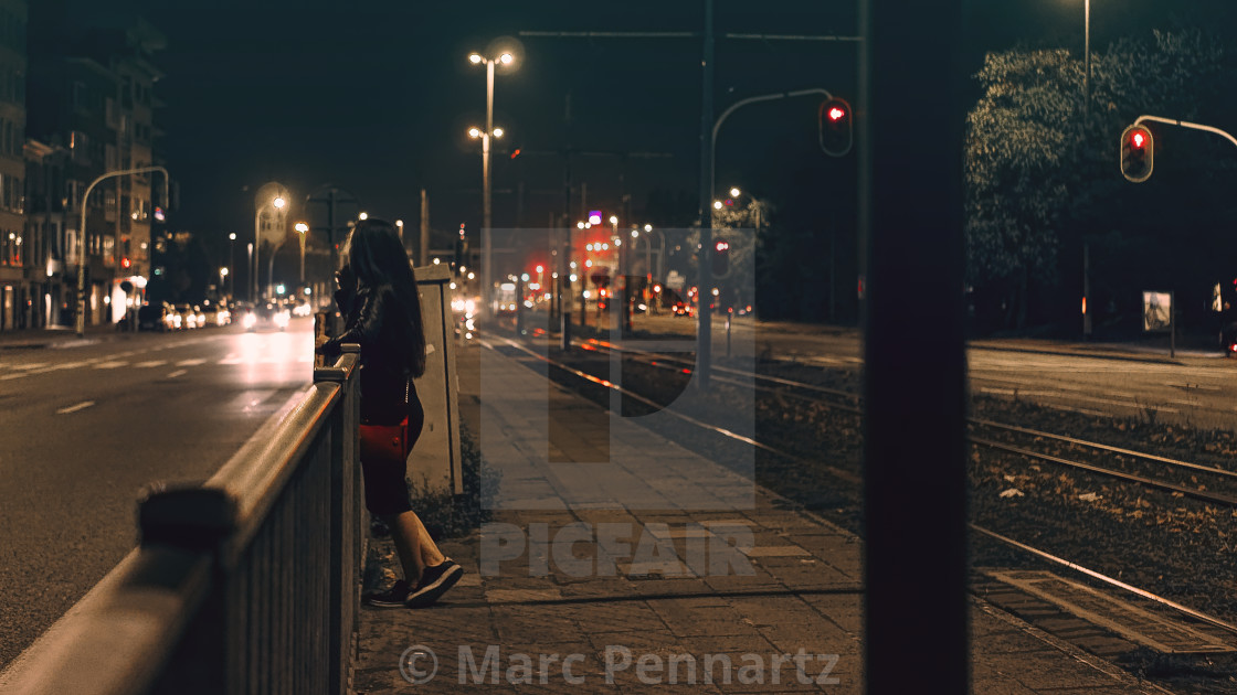 """Tram Stop at Night"" stock image"